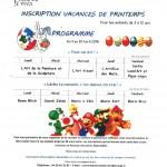 programme centre de loisirs vacances de Printemps
